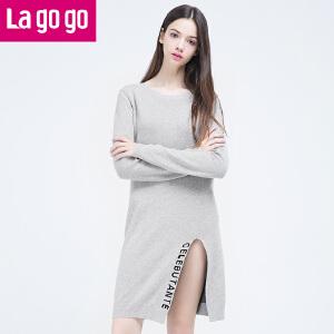 Lagogo韩版宽松针织衫女套头中长款长袖连衣裙2016秋季新款长毛衣