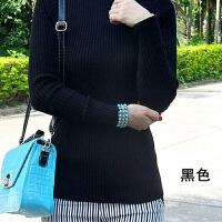 东润莲棉线毛衣厚秋冬高领女装长袖螺纹修身打底衫女式棉针织衫 黑色 黑色