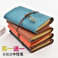 创意欧式复古笔记本手工牛皮绑绳日记本古风活页手账本随身本子