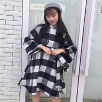 小清新格子呢料连衣裙女高领快手网红同款大袖子毛呢娃娃裙配腰带