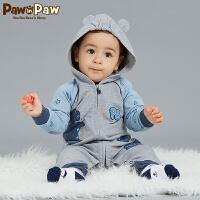 【3件4.5折 到手价:224】Pawinpaw卡通小熊童装秋款男女宝宝印花哈衣婴幼儿连体衣