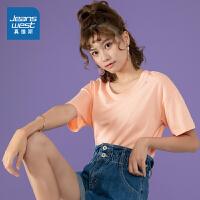 真维斯女装 夏装新款 全棉圆领印花短袖T恤