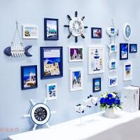 地中海实木照片墙相框墙客厅卧室创意儿童房相片墙组合欧式背景墙