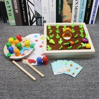 磁性婴幼儿童钓鱼玩具宝宝木制拼插套装1-2-3岁男孩女孩早教