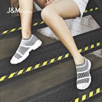 jm快乐玛丽春季新款条纹时尚网面透气运动鞋休闲鞋子女