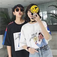 情侣短袖T恤2018夏季新款韩版潮流宽松男士体恤百搭学生圆领上衣