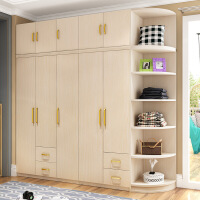 【限时直降 质保三年】现代倾心免漆大衣柜环保组合衣柜转角顶柜 83系列卧室整体衣柜