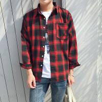 新款2018男士长袖男士个性长袖衬衫韩版衬衫男士秋薄款格子长潮流