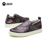 jm快乐玛丽冬季时尚松紧带套脚平底加绒加厚休闲鞋男鞋子82083M