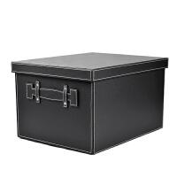 韩国皮质收纳箱大码储物箱创意特大号有盖杂物整理盒