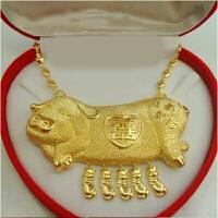 女士新娘结婚镀黄金项链耳环手环敬酒婚庆首饰礼品三件套装情人节礼物