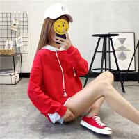 连帽卫衣女2018秋装新款韩版宽松学生假两件上衣纯色薄款带帽外套
