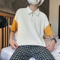 2018夏季新款短袖男士衬衫韩版港风卡通宽松POLO衫男生夏天上衣服
