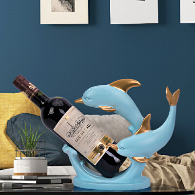 欧式创意红酒柜摆件海豚酒架客厅电视柜博古架家居装饰品结婚礼物