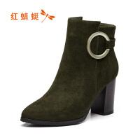 红蜻蜓女鞋2017冬季新款 优雅简约绒里高跟短靴时尚绒面女靴子
