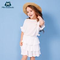 【16号0点开抢 限时2件3折价:60】迷你巴拉巴拉女小童短袖套装年夏装新款宝宝洋气两件装潮