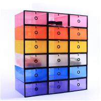 3只装男款加大加厚鞋柜式透明鞋盒透明家用柜式简易宿舍鞋子收纳盒储物盒塑料组合 颜色随机