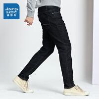 [5折到手价:110元,狂欢返场/仅限12.13-16]真维斯男装 2019秋装新款 时尚弹力十字纹原色牛仔裤