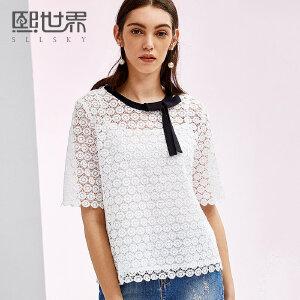 熙世界2018夏新款蝴蝶结领口五分袖拼接蕾丝雪纺衫上衣女116SS033