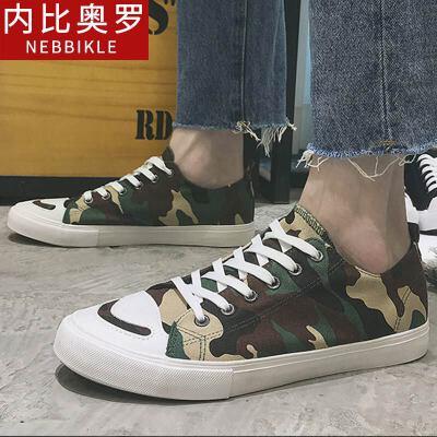 2018新款帆布鞋男迷彩板鞋韩版潮流男士休闲鞋