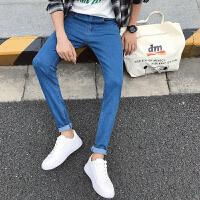 新款纯色韩版弹力修身小脚牛仔裤男生小码长裤160小个子26号