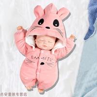 冬季刚出生婴儿连体衣秋冬季新生儿衣服宝宝外出抱衣加厚棉衣套装秋冬新款