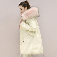 雅鹿时尚女装 韩版修身显瘦中长款羽绒服女 连帽大毛领