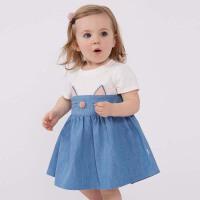 戴维贝拉夏装新款女童短袖连衣裙 圆领连衣裙DBM7341