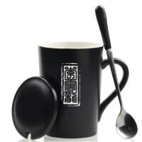 创意礼品创意杯子陶瓷简约马克杯水杯礼品杯办公室咖啡杯带盖带勺 多字 套杯款式二(留言名字) 黑色亚光瓷盖款