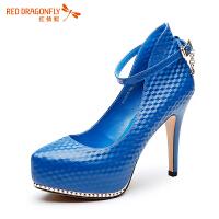 红蜻蜓性感女鞋春季新款尖头漆皮防水台女鞋夜店浅口女单鞋