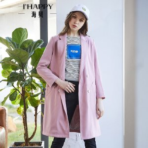 海贝2018年春装新款女外套 西装领字母印花双排扣中长款时尚风衣