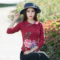 民族风女装上衣 秋装新款中国风绣花纯棉t恤大码女刺绣打底衫