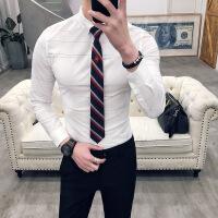 春秋新品男士潮流韩版修身纯色上班长袖衬衫青年免烫简约衬衣服