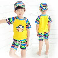 儿童泳衣男童分体宝宝中大童游泳衣 泳裤泳帽套装婴幼儿游泳装备
