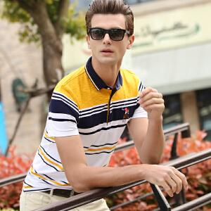 夏季短袖T恤男翻领条纹2019新款青年男装纯棉半袖POLO衫韩版潮流