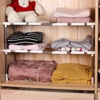 分层隔板 衣橱柜隔断 收纳层架 不锈钢可伸缩下水槽架 厨房置物收纳架锅架 水槽储物架
