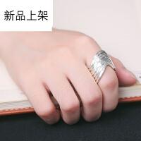2018抖音网红新品泰国原创手工银戒指 清迈925银水波捶打纹开口食指环