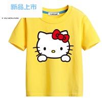 童装女童t恤女孩凯蒂猫 半袖儿童纯棉体恤夏装宝宝短袖