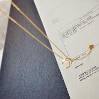 日韩镂空星月锁骨链包18K金抽拉项链颈链毛衣链脖子饰品女