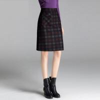 新款格子半身裙字裙秋冬裙中长款大码高腰半身裙女半裙