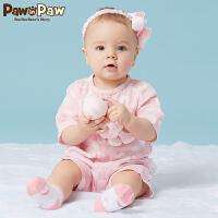 【3件3折 到手价:77】Pawinpaw卡通小熊童装夏款男女宝宝短袖连体衣婴幼儿哈衣爬服