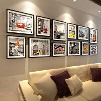 实木客厅玄关照片墙 大墙面 相片墙相框墙创意组合公司文化墙