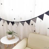 墙面装饰品儿童房装饰黑白布三角吊旗派对拉花