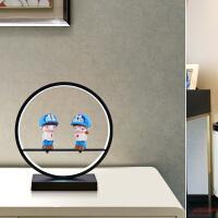 现代简约led护眼台灯卧室床头创意个性北欧美式客厅浪漫遥控台灯 按钮开关