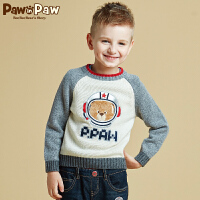 【2件2.5折 到手价:175】Pawinpaw宝英宝卡通小熊童装冬季款男童卡通毛衣儿童撞色套头衫