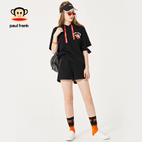 拍下立减!APaulFrank大嘴猴秋季套装女时尚2018新款短袖连帽两件套休闲
