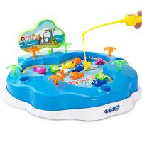 哆啦A梦儿童钓鱼盘 宝宝益智戏水磁性电动钓鱼玩具套装3岁