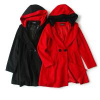 女装秋冬季新 韩国站纯色两粒扣连帽子长袖毛呢外套女