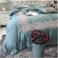 法式蕾丝天丝四件套 轻奢色欧式公主风婚庆床上用品 凯瑟琳公主绿