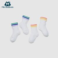 【每满299元减100元】迷你巴拉巴拉婴儿童袜短款彩条袜两双装透气吸汗春季新款宝宝袜子